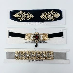 Lot of 3 Rhinestone Chokers Necklaces Victorian